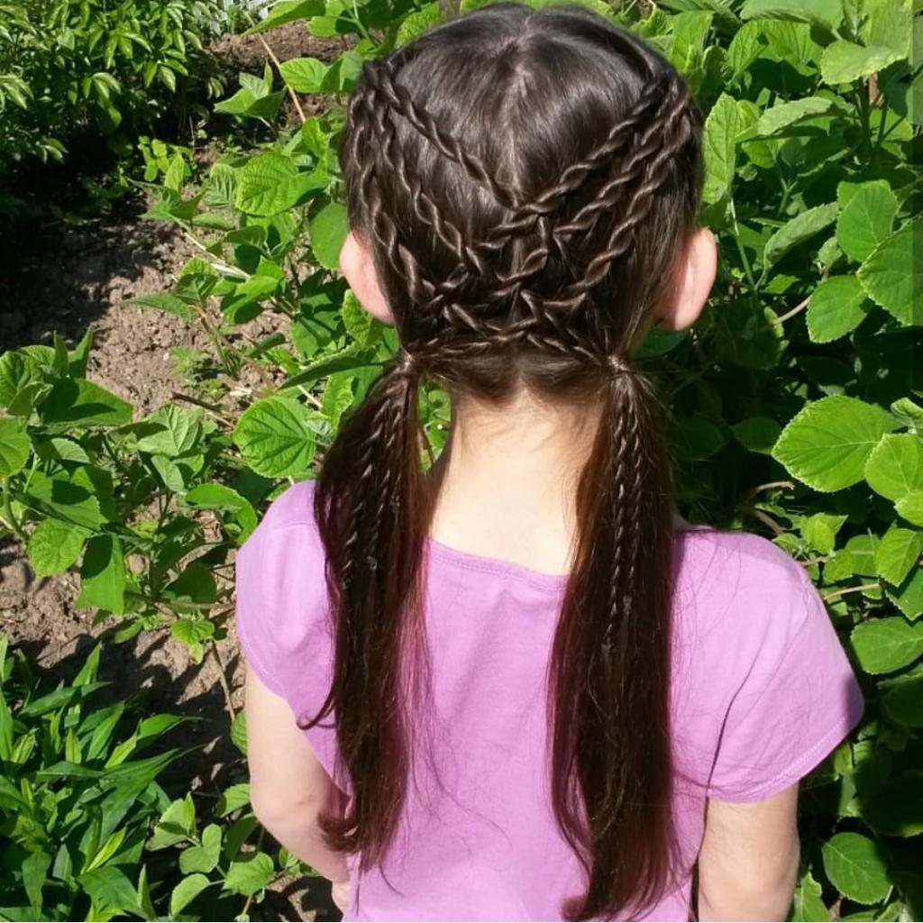 прически для девочек из кос в школу