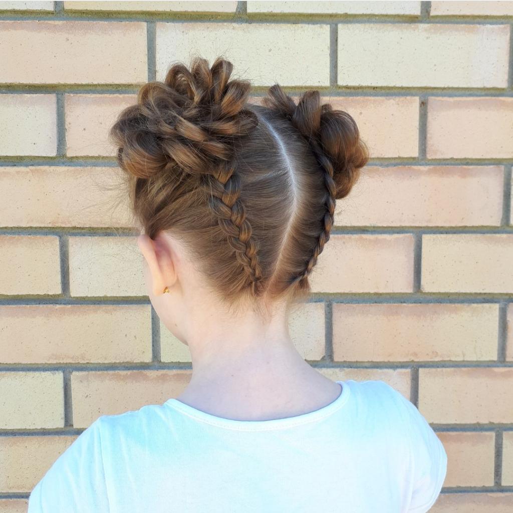 Две косы для девочки прическа в школу