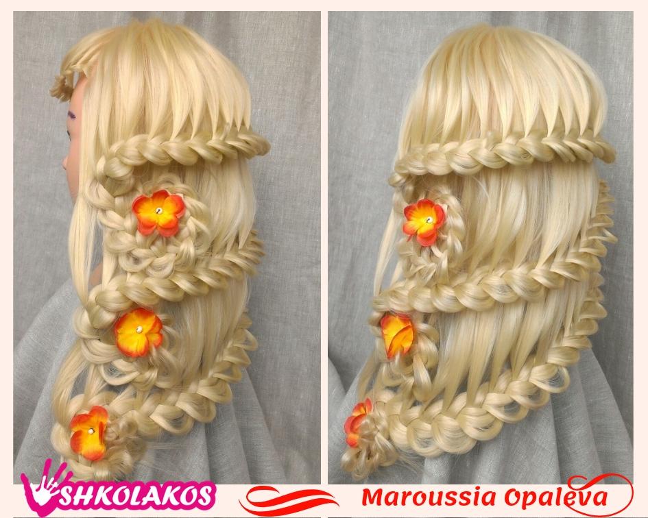 прическа на длинные волосы с косами