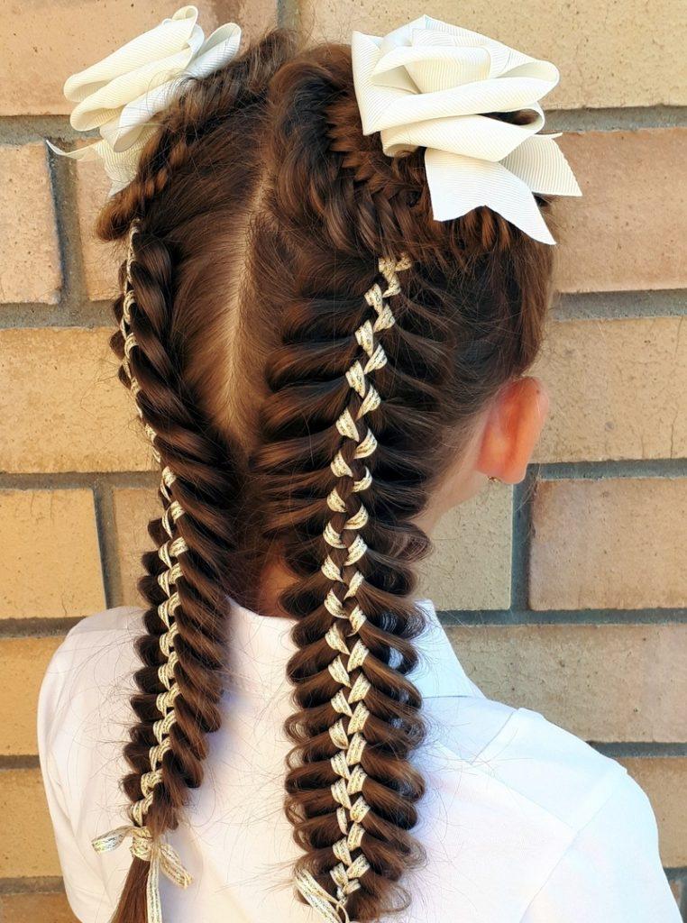 Детские косы с лентами